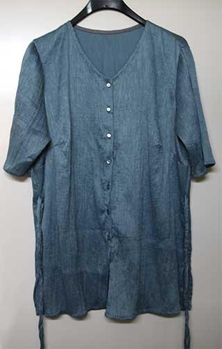 Bluse aus Crinkle, 40% Seide + 60% Baumwolle