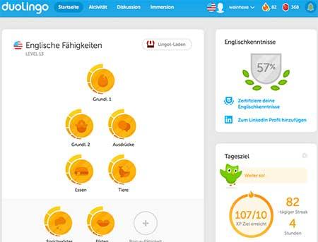 Meine englische Startseite im Sprachlernprogramm Duolingo