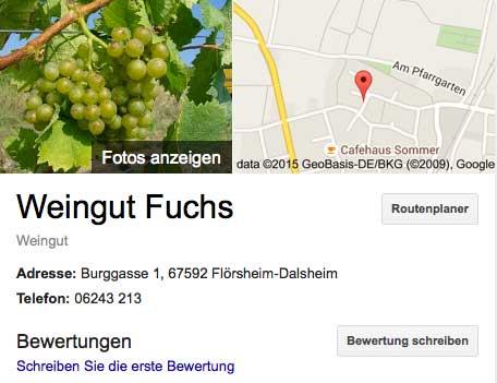 Weingut Fuchs bei Google