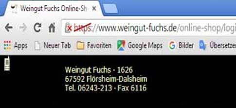 Die Loginseite des Shops im Browser Chrome