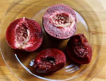 Früchte des roten Weinbergspfirsichs