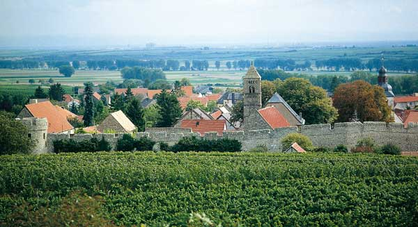 View of the village of Dalsheim and its mediaeval wall