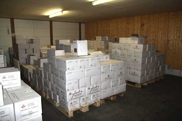 Labelled and packed wines in the storehouse