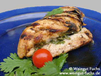 Grilled chicken breast filet with verjuice and cilantro